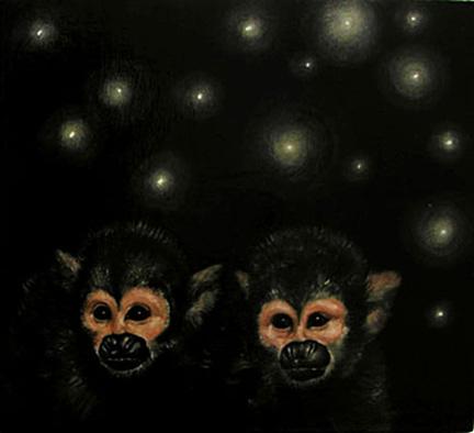 "Firefly Catchers #7 2003 Oil on wood 7 1/4 x 7 1/2"""