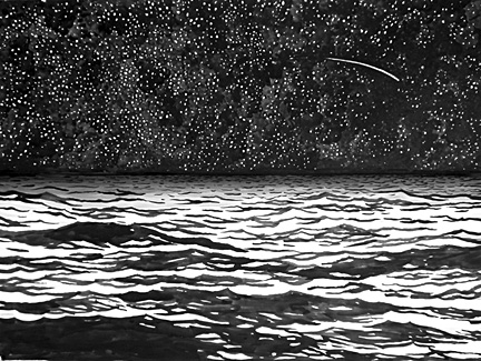Night Sky with Seascape and Shooting Star 2002 Ink on paper 22 x 30""