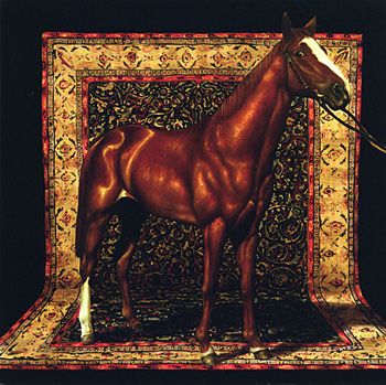 American Horse with Tabriz 2003 Oil on wood 7 1/4 x 7 1/4""