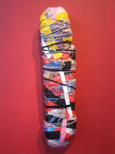 """Athens, 2009, mixed media sculpture, 27 x 8 x 7"""""""