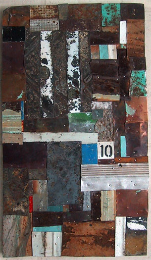 """Manchester, 2009, metal collage, 12 x 22"""""""