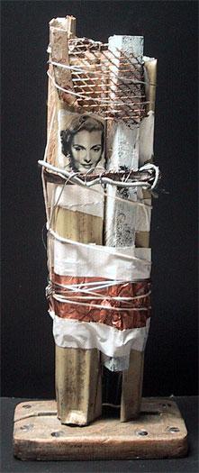 """Post Hole, 2010, mixed media sculpture, 13 1/2 x 5 1/2 x 3 1/2"""""""