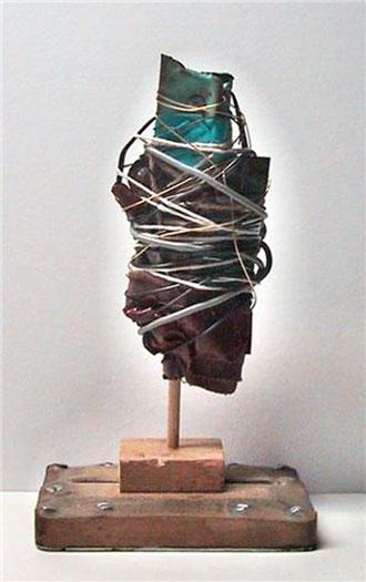 """Riverton, 2010, mixed media sculpture, 9 x 5 1/2 x 3 1/2"""""""