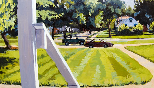 """East Grand River Avenue 2007 oil on canvas 16 x 28"""""""