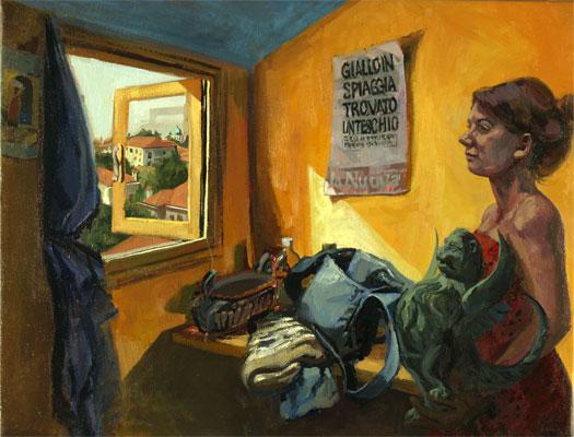 "Giallo in Spiaggia, 2008, oil on canvas, 27 x 36"""