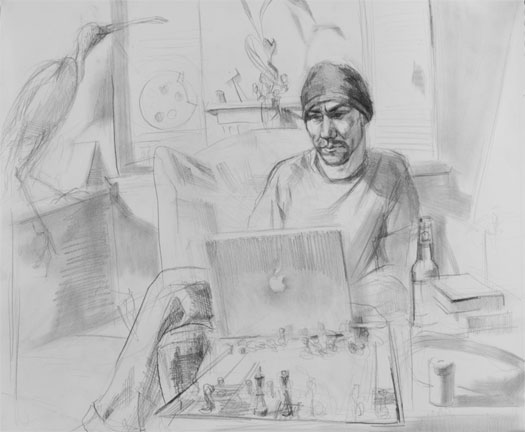 Playing Against the Computer 2007 graphite on paper 14 x 17""