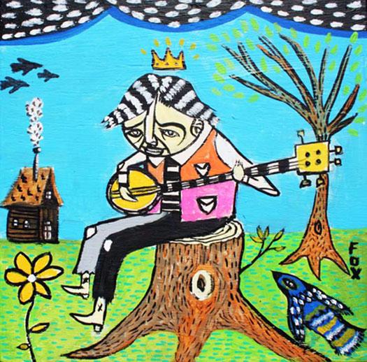 """King of My Banjo, 2010, acrylic on wood panel, 12 x 12"""""""