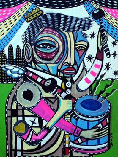 """Drummer Boy, 2010, acrylic on canvas, 18 x 24"""""""