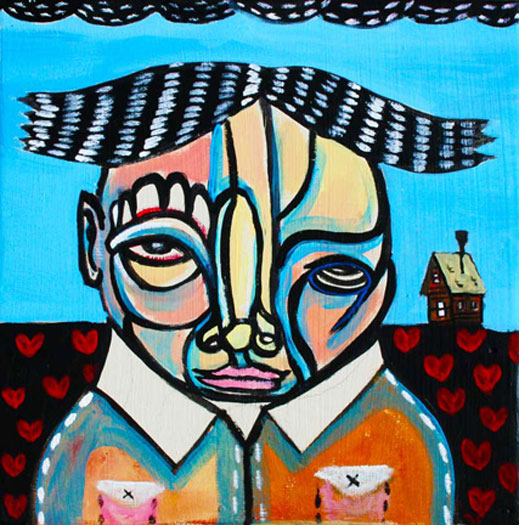 Lone Hearted, 2010, acrylic on wood panel, 12 x 12""