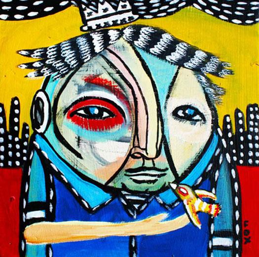 """Mr. Yellow Bird, 2010, acrylic on wood panel, 12 x 12"""""""