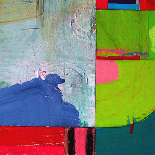 """In The Middle With You 8 2006 acrylic and found paper collage on museum board 7 x 7"""""""