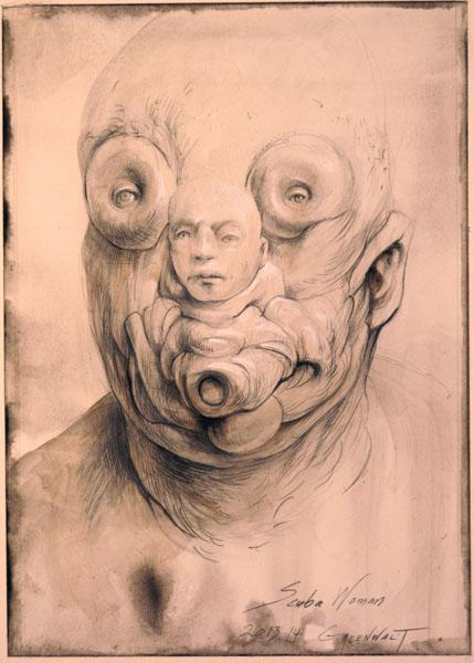 "Scuba Woman, 2013-2014, graphite, acrylic on panel, 5 x 7"""