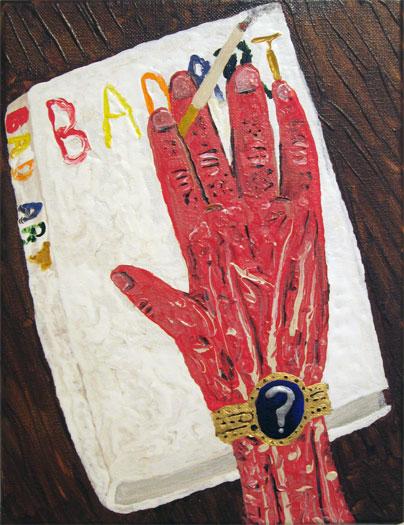 """Bad Art Book, 2011, acrylic on linen, 12 x 9"""""""