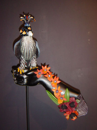 Red Orchid Falcon, 2005, blown and sculpted glass, 25 x 14 x 7""
