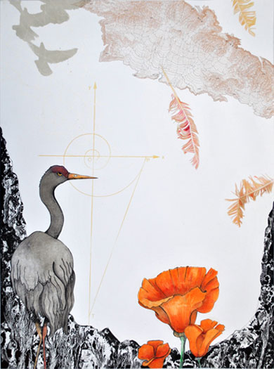 Soar, 2011, lithography with collage and hand-coloring, i.s. 24 x 18""