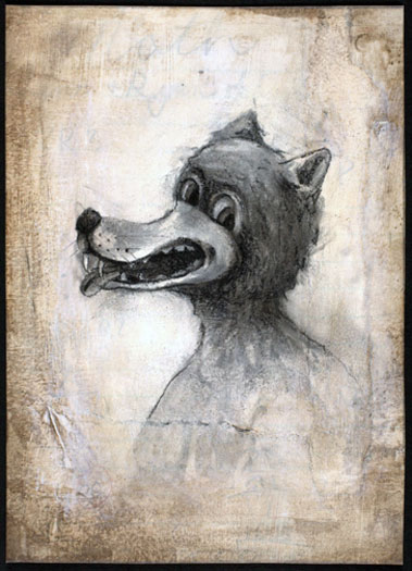 """Big Bad Wolf 2009 charcoal and acrylic on paper 7 x 5"""""""