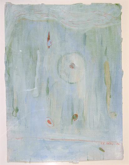 "Blue Veil 2006 acrylic, paper 12 x 9"""