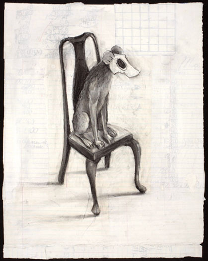 """Canine Gas Mask 2009 charcoal and acrylic on paper 18 x 14"""""""