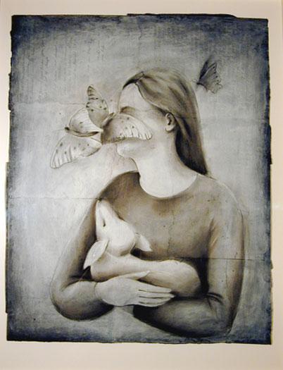 "Doe 2006 charcoal, acrylic, paper 24 x 19"""