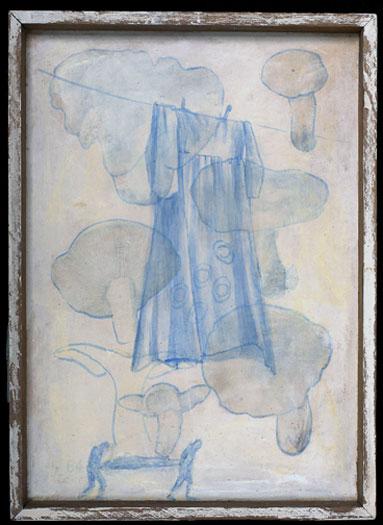 "Laundry 2009 acrylic on found print 11 1/2 x 8"""