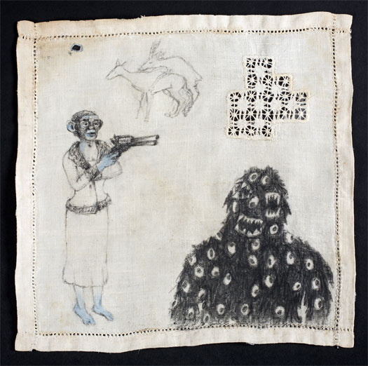 """Monster, 2010, charcoal and acrylic on found fabric, 10 x 10"""""""