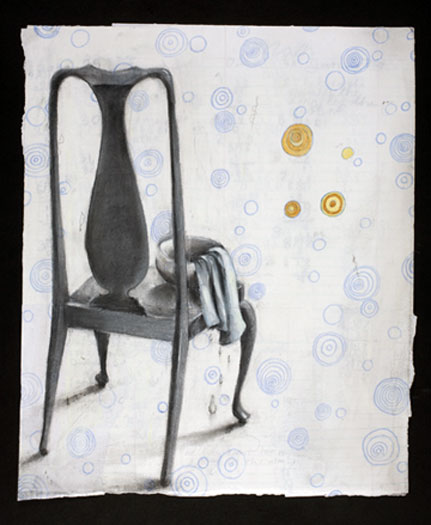 """The Woman and the Wolf Chair (study) 2009 charcoal and acrylic on paper 17 x 14"""""""