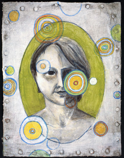 """The Woman 2009 acrylic on paper collaged canvas 8 1/2 x 6 1/2"""""""
