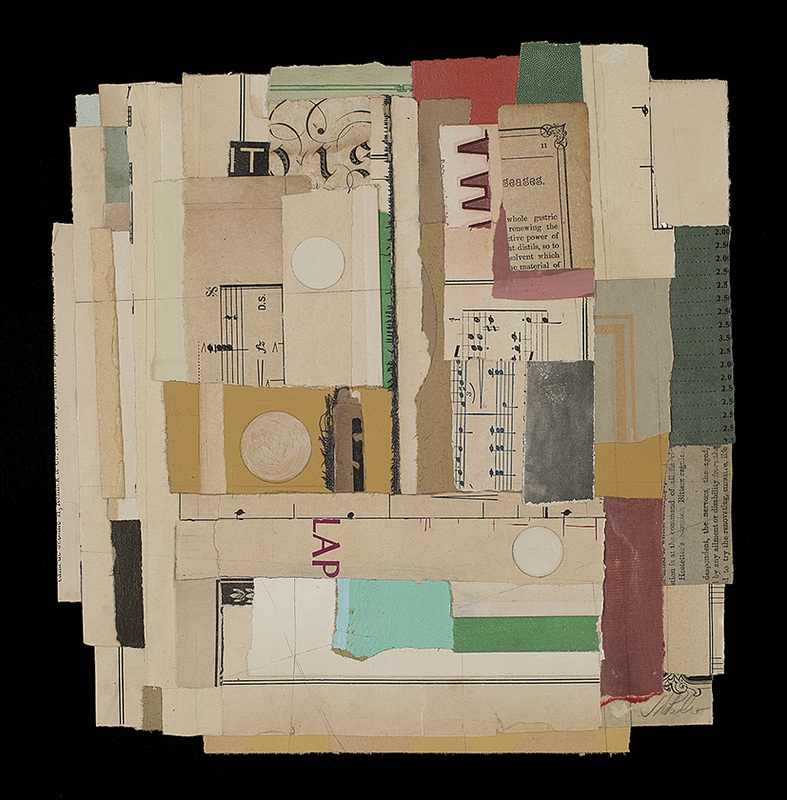 "Lapse, 2015, vintage paper, acrylic, graphite, collage, i.s. 9 1/4 x 9 1/4""/f.s. 15 1/2 x 15 1/2"""