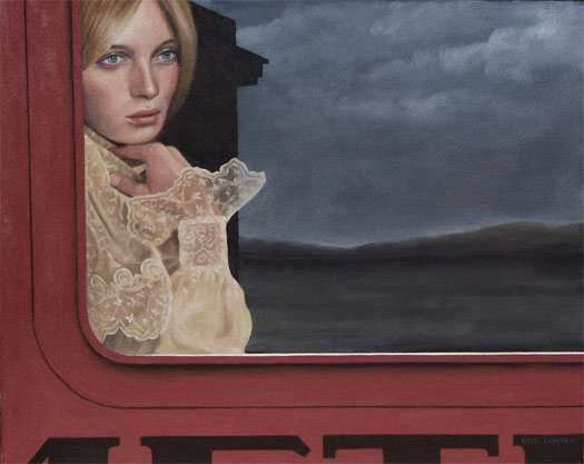 Aboard the Metro, 2007, oil on canvas, 16 x 20""