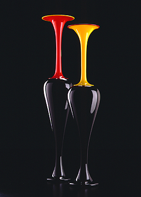 """Black with Red Gambo Vase/Black with Yellow Gambo Vase, 2002, blown glass, 39 x 8 x 8"""" and 35 x 7 1/4 x 7 1/4"""""""