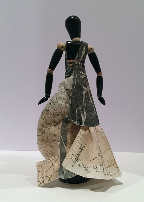"""Constantina, 2014, mixed media, folded paper dress on wooden articulated mannequin, 13 1/2 x 6 x 8"""""""