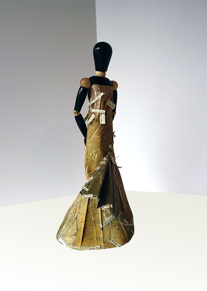 "Melpomene, 2014, mixed media, folded paper dress on wooden articulated mannequin, 13 1/2 x 7 x 6"""