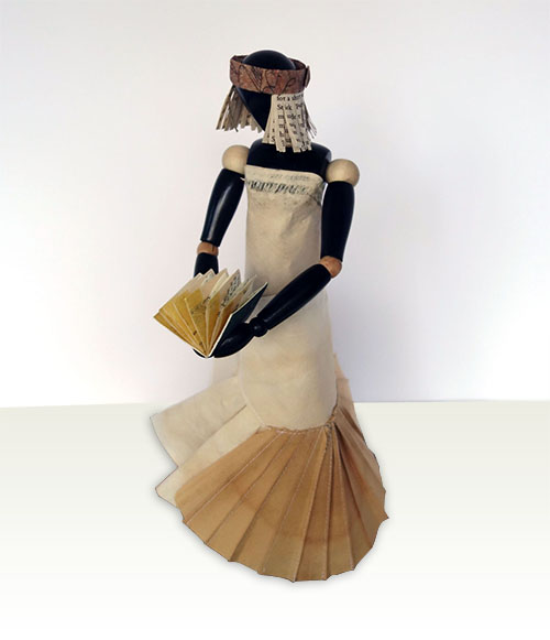 """Victoria, 2014, mixed media, folded paper dress on wooden articulated mannequin, 13 1/2 x 6 1/2 x 5 1/2"""""""