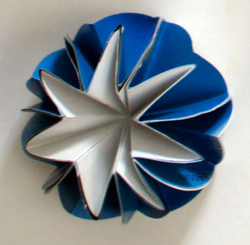 """blue dome (dome 5), 2013, recycled magazine pages, asian paper, 1 1/4 x 2 1/2 x 2 1/2"""""""