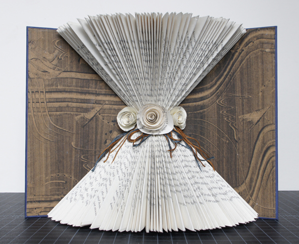 """bride's journal, 2013, repurposed book sculpture, monotype, paper roses, embroidery thread, PVA, 8 1/2 x 11 x 4 1/2"""""""