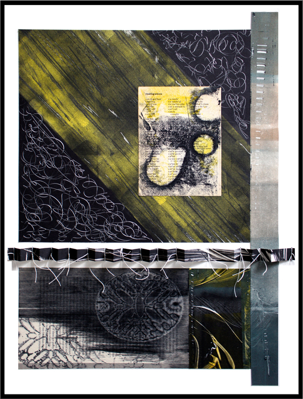 """castigation, 2013, inks on paper, ink trace monotypes on repurposed book pages, folded, rolled, tied, and stitched with waxed linen, f.s. 20 1/2 x 16"""" / i.s. 18 x 13 3/4"""""""