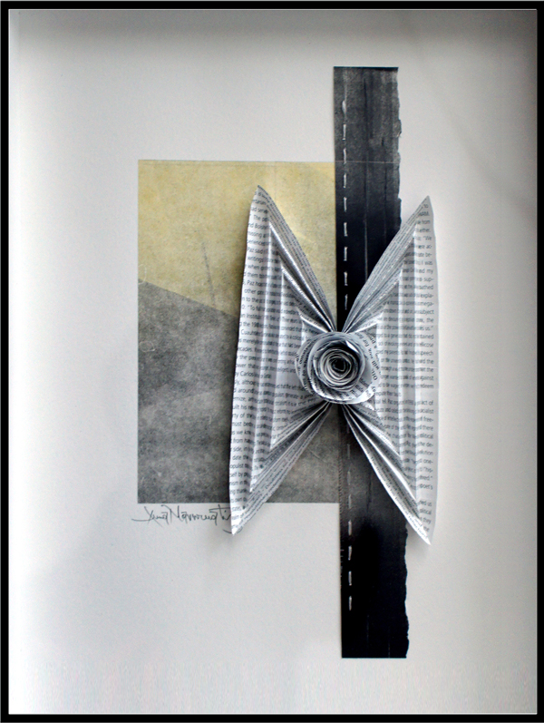 """somewhere in the folds..., 2013, sculpted monotype collage composition (inks on paper, rolled-shaped monotype strips stitched onto a pleated segment), f.s. 16 x 12"""" / i.s. 11 1/2 x 6"""""""