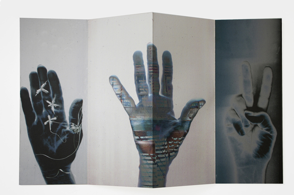 "hand talk, 2012, monotypes, archival pigment print, concertina structure, 10 1/4 x 4"" closed / 10 1/4 x 16 1/4"" open"
