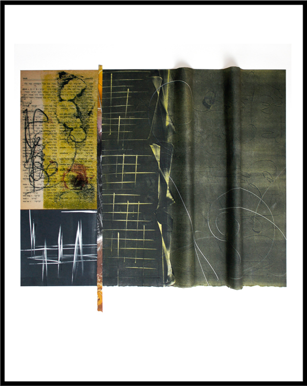 "memory trails, 2013, inks on paper, ink trace monotypes on repurposed book pages, folded, rolled, tied, and stitched with waxed linen, f.s. 20 x 16"" / i.s. 12 x 13"""