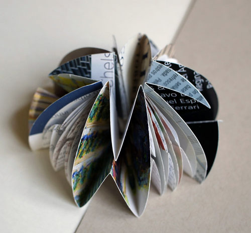 multi color small dome (dome 4), 2013, recycled magazine pages, asian paper, 2 x 4 x 4""