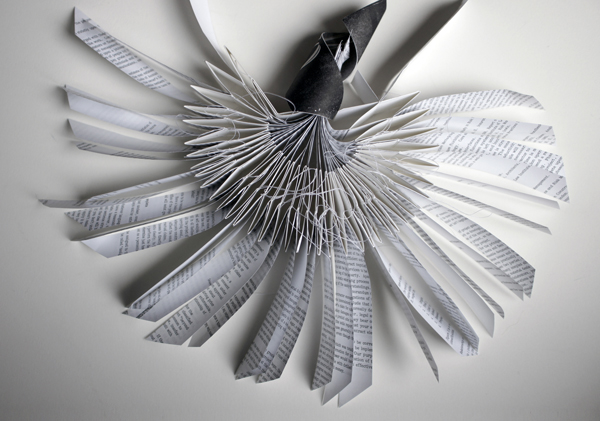 """paper fan, 2013, recycled book pages, cotton paper, monotype, thread, 10 x 12"""""""
