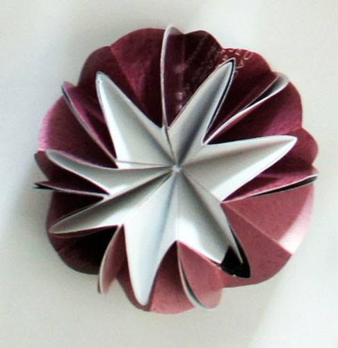 """pink dome (dome 3), 2013, recycled magazine pages, asian paper, 1 1/4 x 2 1/2 x 2 1/2"""""""