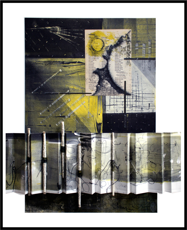 """promises, 2013, inks on paper, ink trace monotypes on repurposed book pages, folded, rolled, tied, and stitched with waxed linen, f.s. 20 1/2 x 16"""" / i.s. 16 x 15"""""""