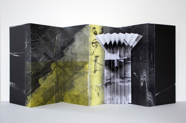 """spring signs, 2013, monotypes assembled into a concertina structure, 5 x 10 1/2"""" closed / 5 x 23"""" open"""