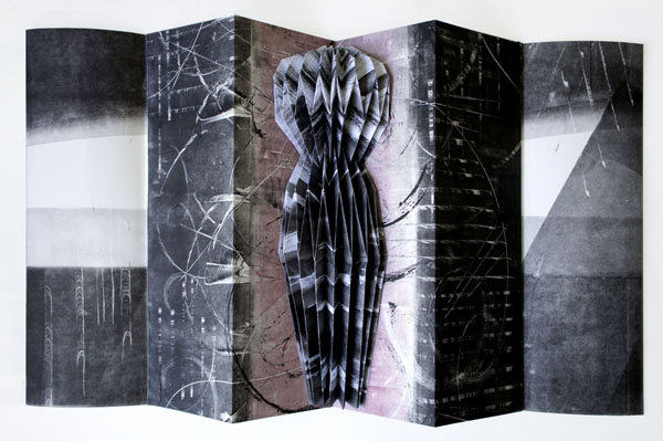 """stasis, 2012, monotypes, ink brush painting folded, assembled into concertina structure, 17 3/4 x 5 3/4"""" closed / 17 3/4 x 33"""" open"""