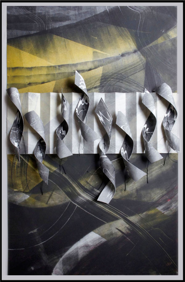"""unraveling truths, 2013, sculpted monotype collage composition (inks on paper, rolled-shaped monotype strips stitched onto a pleated segment), f.s. 36 x 24"""" / i.s. 32 1/2 x 20 1/4"""""""
