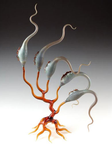 """Elephant Pods (Organism Series), 2005, lampworked, borosilicate, sculpted, blown, oil-painted glass, 24 x 8 x 7"""""""