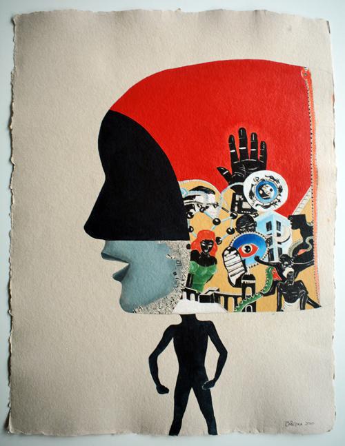 """Cerebrum, 2010, oil on handmade paper, f.s. 34 x 27"""" / i.s. 29 x 22"""""""
