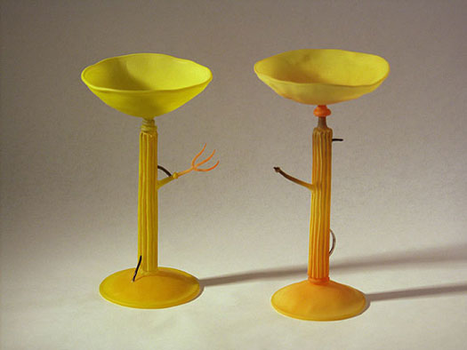 """Pair of Derelict Wine Glasses, 2002, hand-blown, sandblasted, painted glass, 8"""" (approx. height)"""
