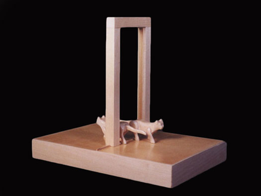 """Doorway with Two Cats, 2002, wood, 7 1/4 x 8 1/4 x 5 1/2"""""""